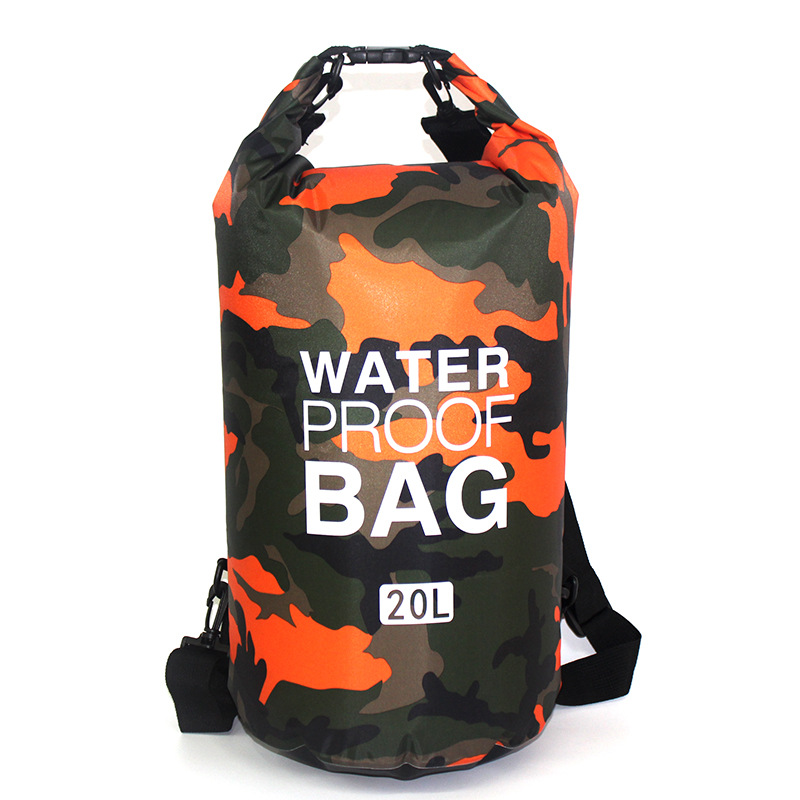 Outdoor Camouflage Waterproof Bag Portable Rafting Diving Dry Bag Sack PVC Folding Swimming Storage Bag for River Trekking 20L 2