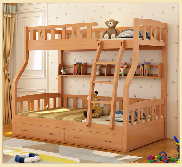 Children Beds multi-function environmental children bunk bed with drawer