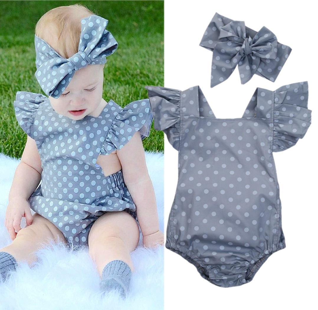 Cute Newborn Baby Girls Polka Dot Fly Sleeve Romper Jumpsuit Backless Sunsuit +Bowknot Headband Outfits Clothes polka dot baby girls clothes backless flounced kid girls rompers jumpsuit playsuit one pieces outfits 0 18m blue pink purple