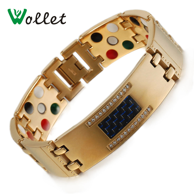 Wollet Jewelry Titanium Magnetic Bracelet for Men Gold Color CZ Stone Black Carbon Fiber Healing 5 in 1
