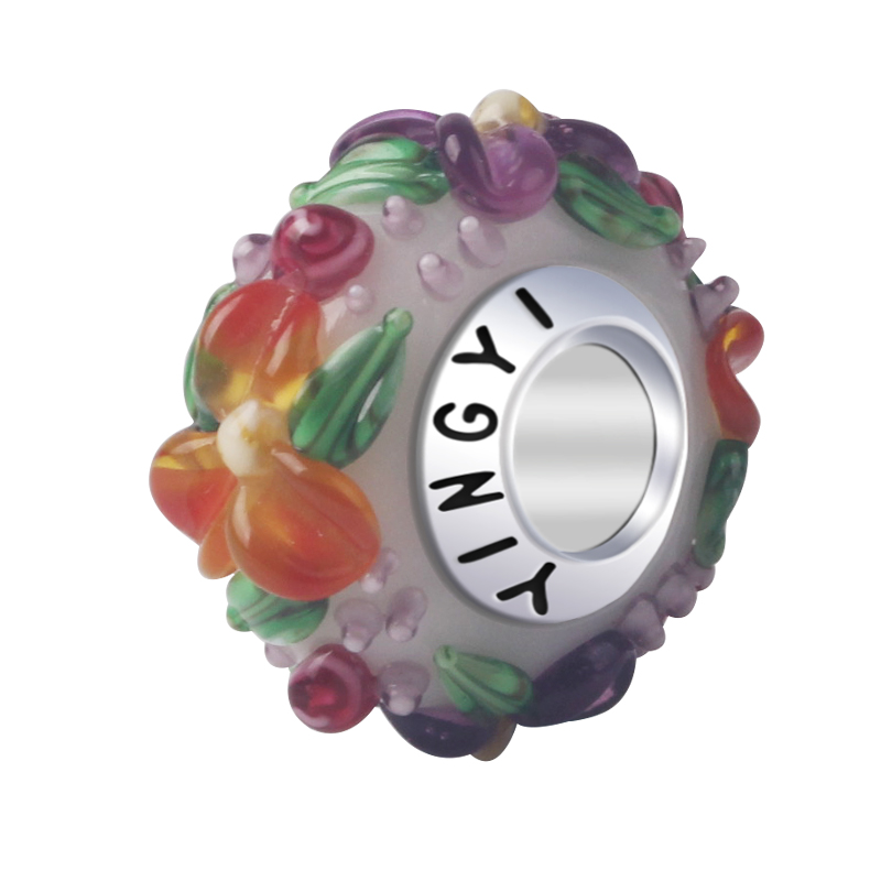 Free shipping Red Flowers Glass Beads Crack Beads Purple Green Color for jewelry making