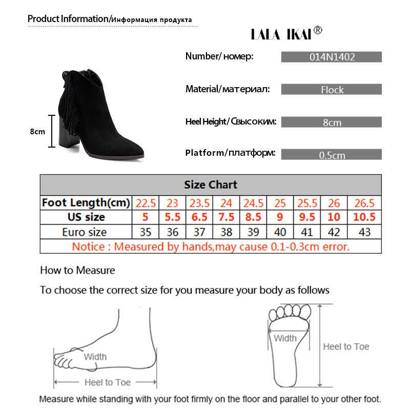 LALA IKAI artı boyutu moda püskül yüksek topuk yarım çizmeler kadın sıcak ve rahat akın bayan kışlık botlar 014N1402-3