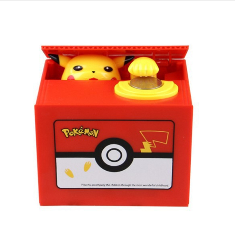 Brand New Pokemon Pikachu Electronic Plastic Money Box Steal Coin Piggy Bank Money Safe Box For Kids Gift Desk Toy For Christmas