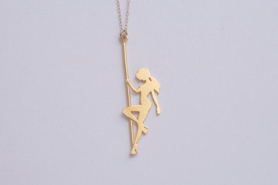 Pole Dancer Necklace Rose Gold pole dancer Pole Dancer Pendant Strip Dancer Silhouette Pole Dancer Jewelry Pole Dancer Gift