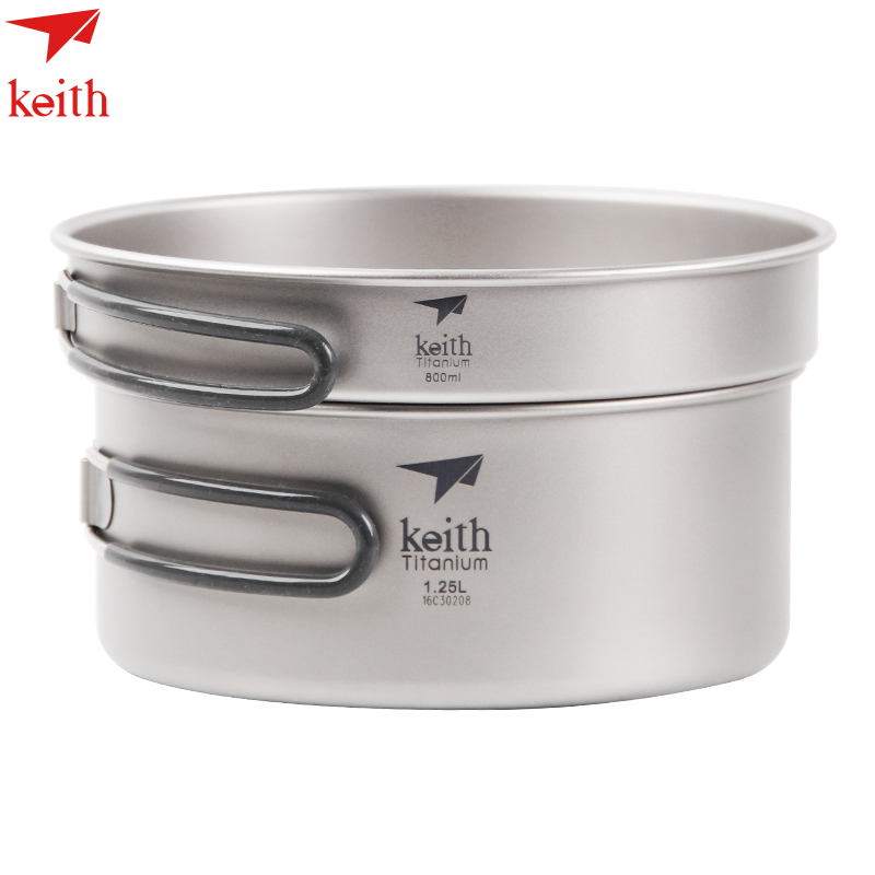 Keith Titanium Cookware Foldable Cookware Outdoor Camping Cooking Pot 1.25L+ Frying Pan  800ml Ti6017 refined iron cooking cookware kitchenware set free shipping manufactuer in china for sale wok pan fry pan soup pot kitchen
