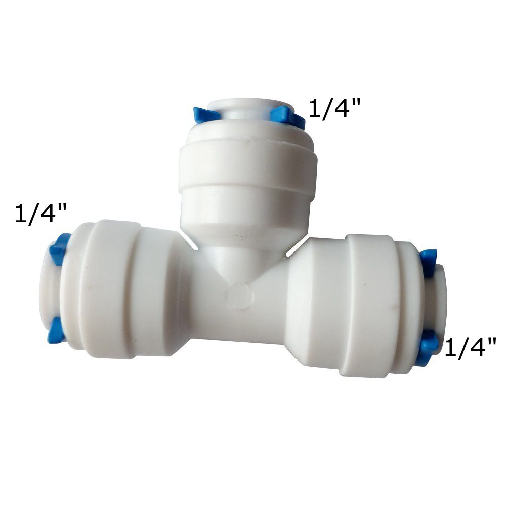 1 4 OD Equal Tube T Quick Connector Tee Fitting RO Water Purifier Reverse Osmosis Aquarium