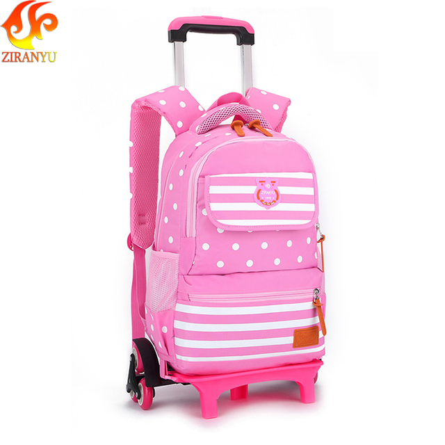 ZIRANYU Trolley Schoolbag Luggage Book Bag Latest Removable Children School Bags With 3 Wheels Stairs Kids boys girls backpacks School Bags