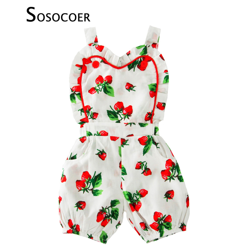 SOSOCOER Baby Girls Rompers 2017 Summer Strawberry Suspender Toddler Girl Jumpsuit Baby Clothes Cute Fruit Kids Newborn Romper cute newborn baby kids girls lace floral jumpsuit romper outfit clothes infant toddler girl rompers summer pink lovely clothing