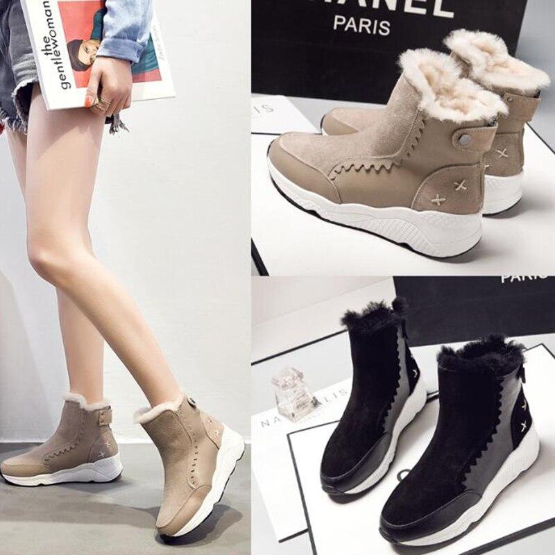 Bottes Mm146 Britannique Noir Et Nouvelles Style Chaussures De Casual camel Mujer Chaud Simple Neige Boot Fond Épais Botas Plates 2019 Mode Femmes IfxHtRqtw