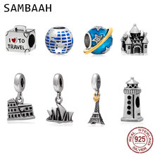 Sambaah I Love to Travel Globe Paris Sydney Charms 925 Sterling Silver Tourist Resort Beads fit Pandora Holiday Bracelet