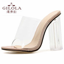 Open Toe High Heels PVC Clear Women Sandals Spring Summer Sexy Women Shoes Woman Thick Heels Best #Y0206282Q(China)