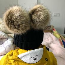 Zimní dětská vlněná čepice s chlupatými uši