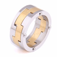 Gear Ring 316L18K Plated Stainless Steel Ring Top Quality Titanium Ring Wholesale Jewelry Supplier Free Shipping