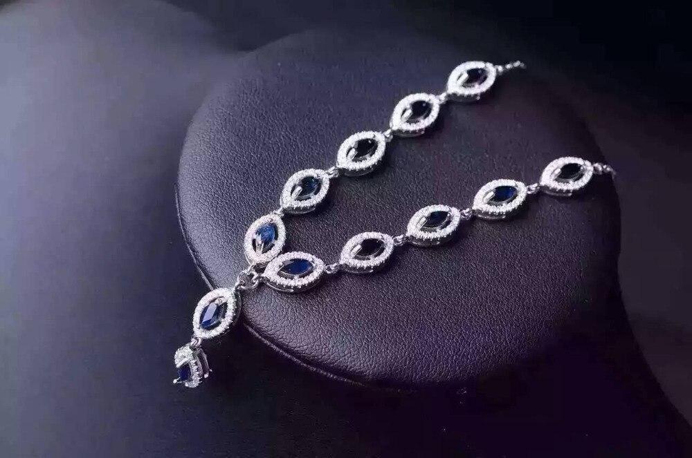 Naturalny błękitny szafir kamień naszyjnik naturalny kamień wisiorek naszyjnik 925 sliver kobiety luksusowe trendy okrągły kobiety party biżuteria w Naszyjniki od Biżuteria i akcesoria na  Grupa 2