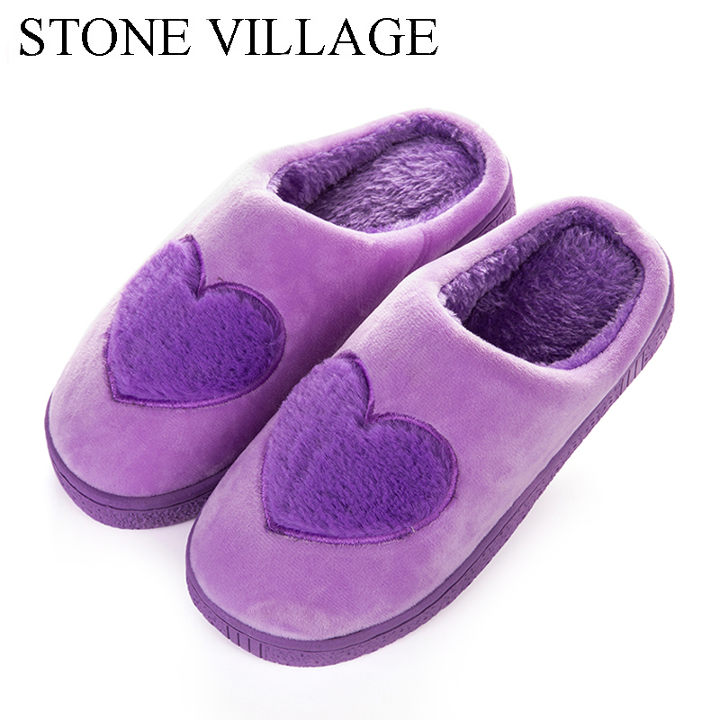STONE VILLAGE New Ladies Sweet Heart-Shaped Winter Home Slippers Indoor Women Slipper Shoes Warm Soft Plush Cotton Slippers Men камин new home stone 2015