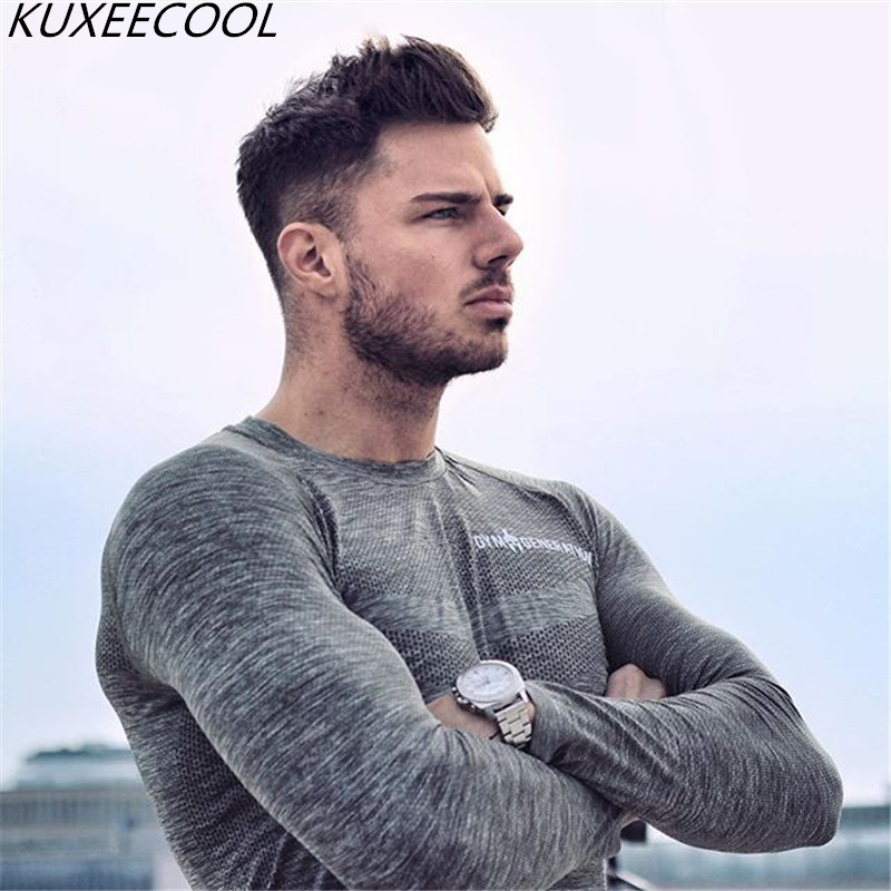 Men Long sleeves cotton t shirt Solid color ultrathin sleeve shirts casual fashion Slim fit elasticity male Fitness  clothing