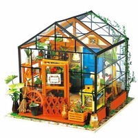Miniature Doll House Wooden Dollhouse Miniature 3D Garden Puzzle Toy DIY Model Kits Sweet Greenhouse Model With Light Hot New