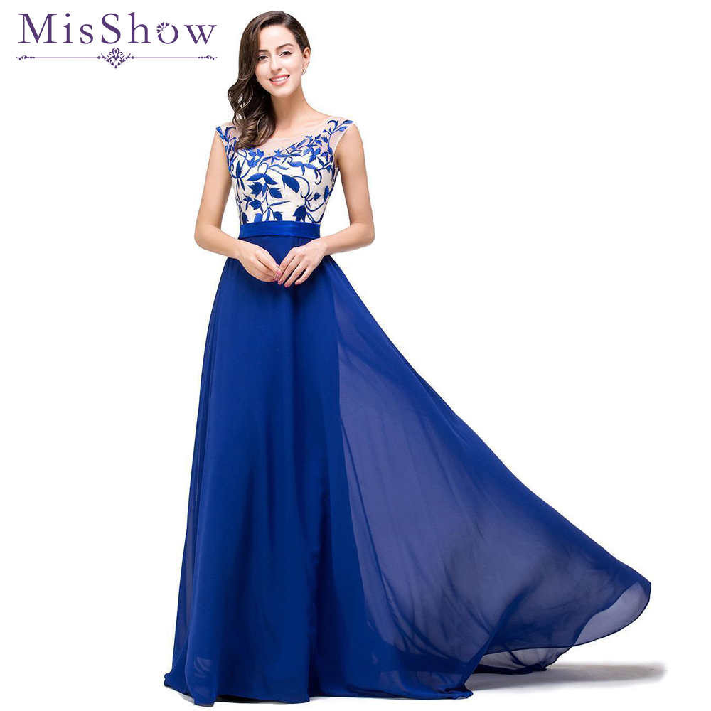 In stock! Special offer! Formal   Evening     Dresses   Long 2019 Women Elegant Royal Blue Sleeveless Embroidery   Evening   Fromal Gown