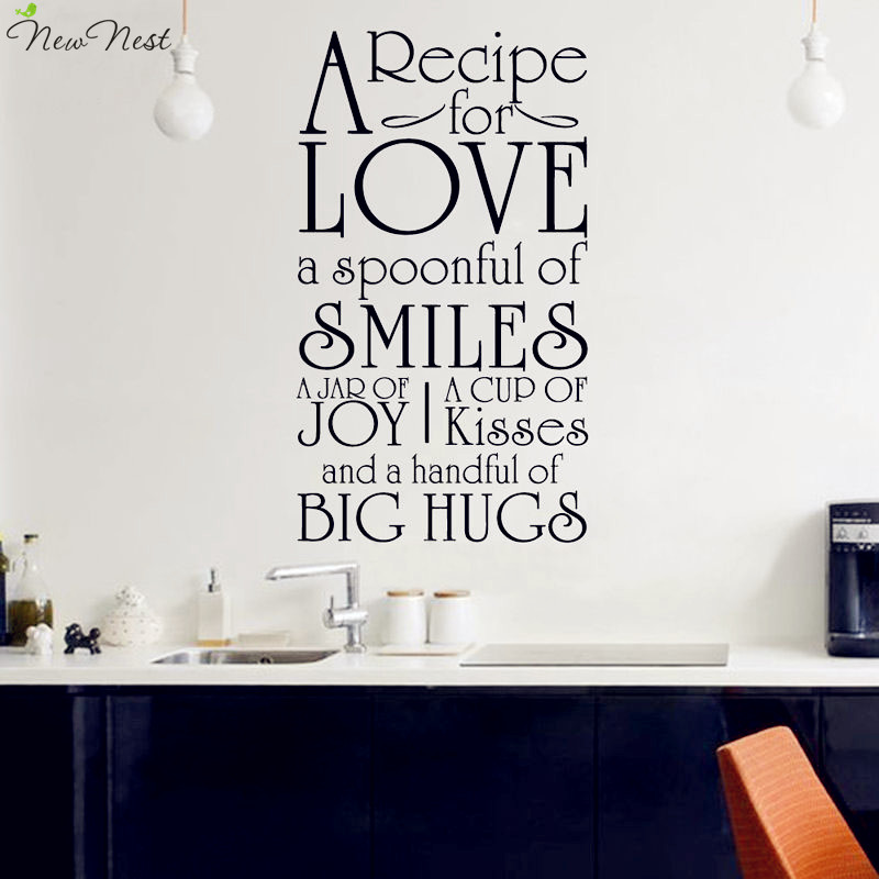 Free Shipping Family Is Vinyl Wall Lettering Quote Wall: Free Shipping A Recipe For Love Kitchen Decals Vinyl Wall