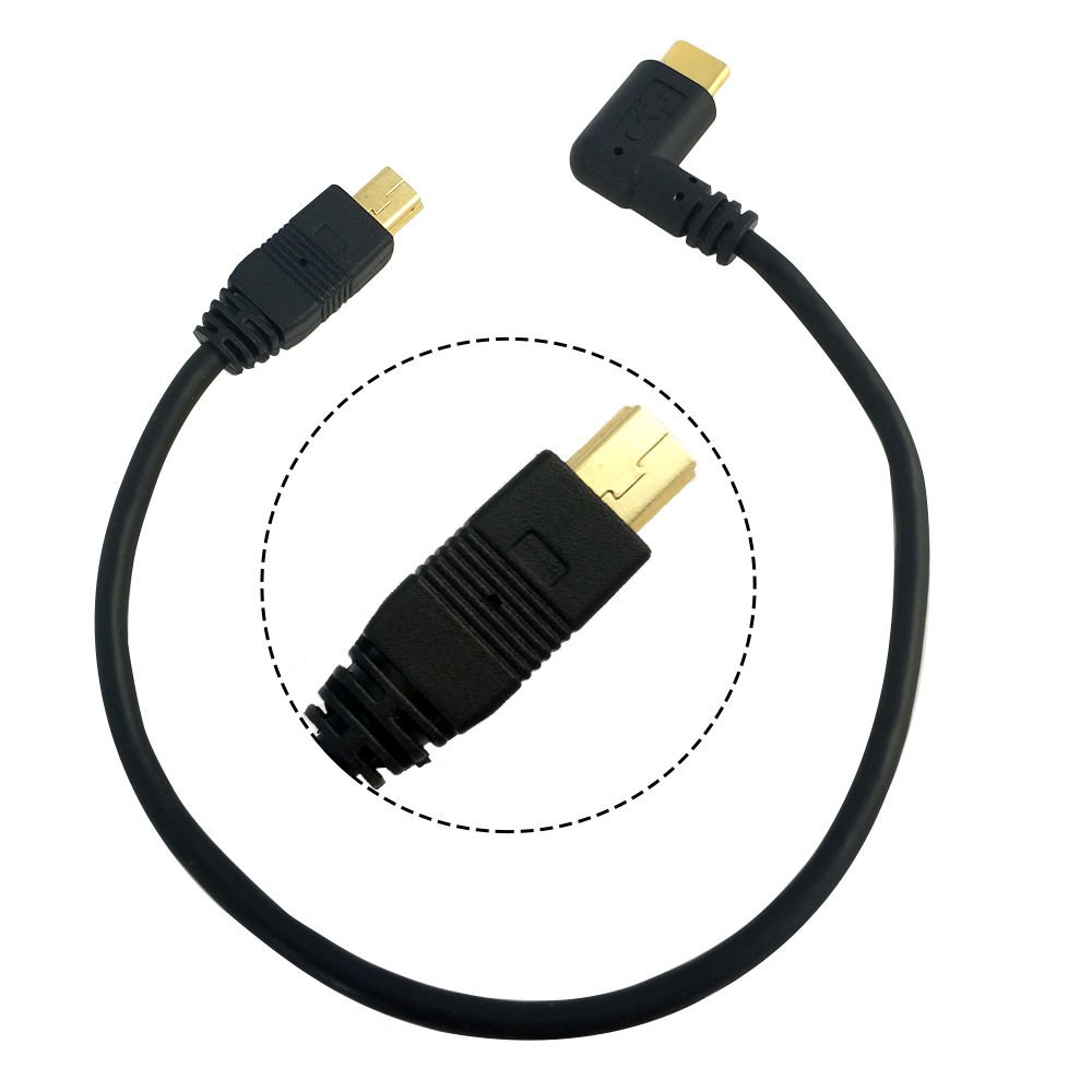 Mini USB Cable 5 Pin Male To Male USB 3.1 Type C To Mini OTG Data Cable Adapter Converter Charging Cable Length 25cm