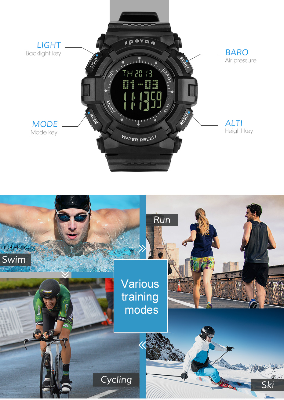 digital led grande dial fitness à prova