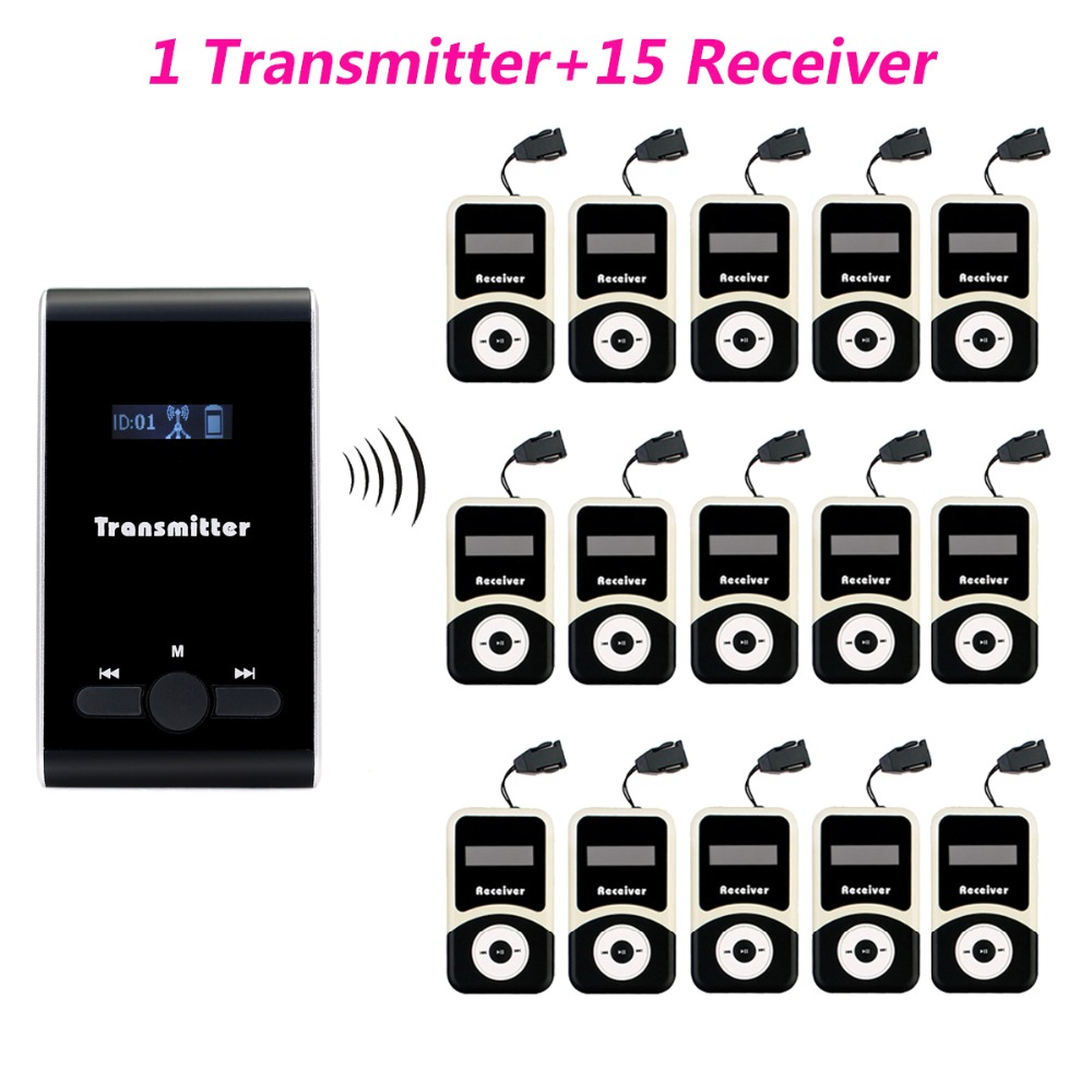 TIVDIO 1 Transmitter+15 Receiver Wireless Tour Guide System for Tour Guiding Simultaneous Translation Interpretation System new restaurant equipment wireless buzzer calling system 25pcs table bell with 4 waiter pager receiver