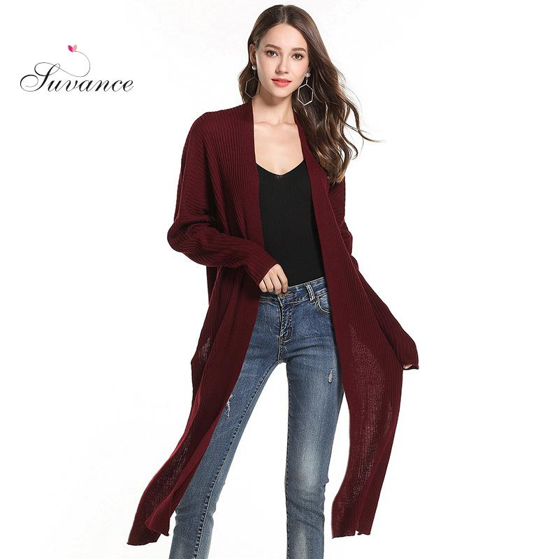 Suvance Autumn Winter Office Lady Knitted 3 Solid Color Fashion Long Sleeve Irregular Cardigan