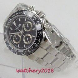 39mm Parnis zegarek kwarcowy szafirowy kryształ Casual solidna stal nierdzewna męska ceramiczna ramka szkiełka zegarka kwarcowy zegarek New Arrival