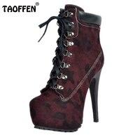 Brand New Mulheres Plataforma Thin Salto Alto Ankle Boots Mulher Sexy Leopardo Botas de Moda Rendas Até Sapatos de Salto Calçado Tamanho 34-47