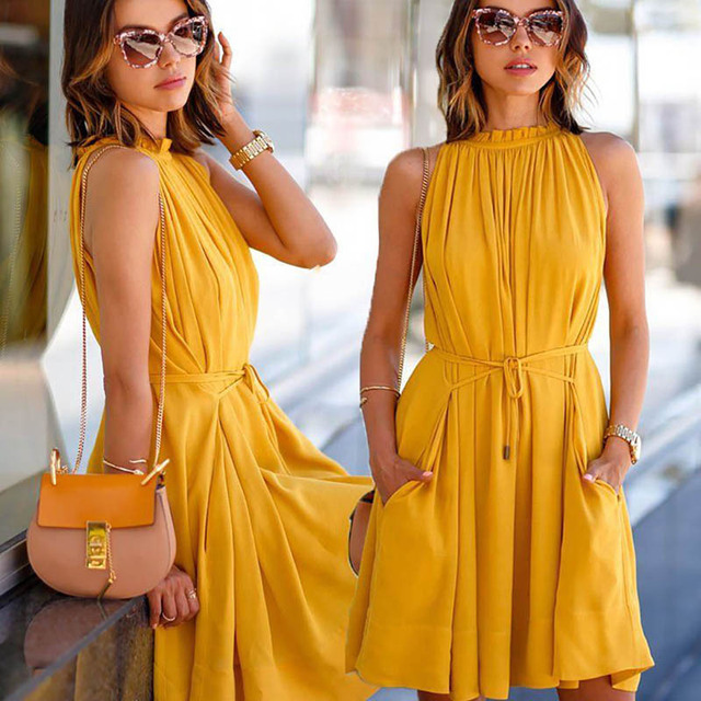 2017 Fashion New Style Summer Yellow Pleated lady Sleeveless Dress Solid  color Elegant Pocket Dresses Beach Cool Women Dresses cc91b2a0d