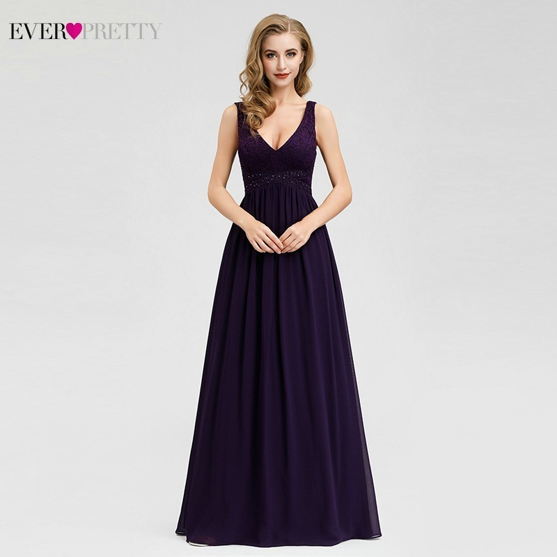 Elegant Dark Purple Bridesmaid Dresses Ever Pretty A-Line V-Neck Beaded Sleeveless Formal Wedding Guest Dresses Vestido Madrinha