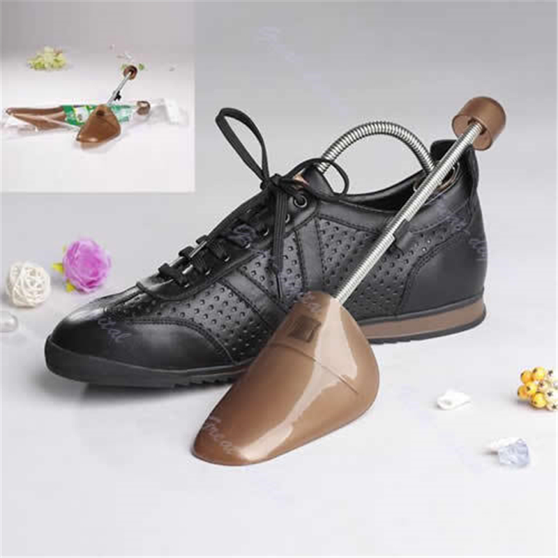 Men Spring Loaded Plastic Mens Shoe Trees Support Stretcher Shaper Plastic New Fashion High Quality Male Shoes Trees Brown