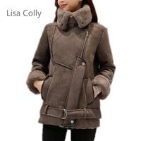Lisa Colly winter Coat jacket Faux leather suede lamb fur jacket coat Outerwear women Moto zipper suede jacket Coat overcoat