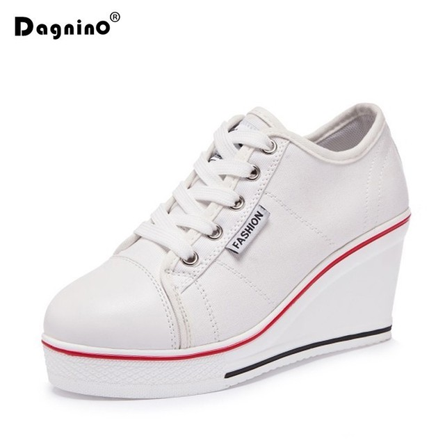 1db5b37cefb4 2018 New Women s Sneakers Wedges Canvas Shoes Woman Breathable Platform 8cm Height  Increasing Casual Shoes For Women High Heels