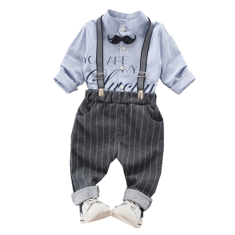 Baby Boys Clothing Set Children Tracksuit For Boys School Character T-Shirt+Bib Pants Kids Casual Suits Striped Baby Clothes 2016 brand new boys clothing set kids sports suit children tracksuit boys long shirt pants gogging sweatshirt casual clothes