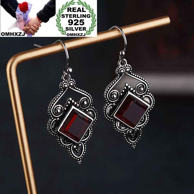 OMHXZJ Wholesale European Fashion Woman Girl Party Wedding Gift Geometric AAA Zircon S925 Sterling Silver Drop Earrings EA426