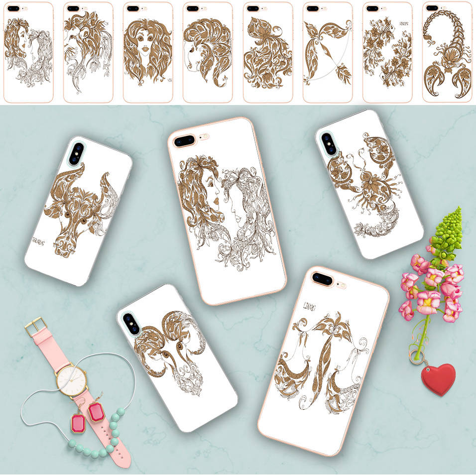 Minason Art Floral Signs Of The Zodiac Clear Soft Silicone Phone Case for iPhone X 5 S 5S SE 6 6S 7 8 Plus Cover Capa de Celular