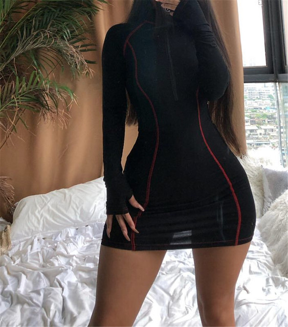 Long sleeve bodycon dress for Women With Zipper Casual cotton Mini Vestidos Womens Clothing Out-going Dresses 2