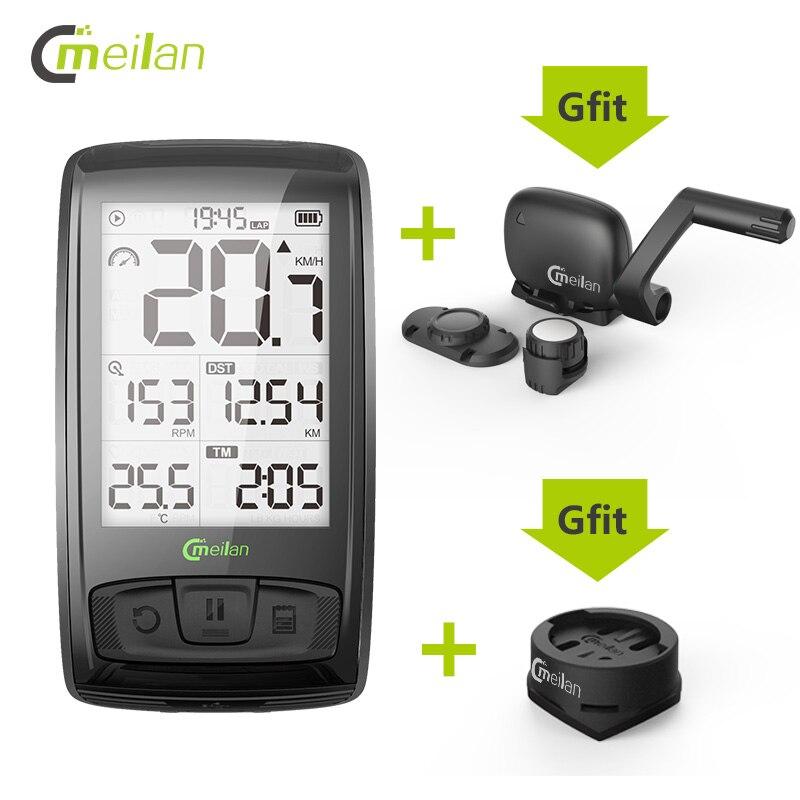 Velocímetro inalámbrico de bicicleta Meilan M4 y S1 luces traseras tacómetro Monitor de ritmo cardíaco Sensor de velocidad de cadencia cronómetro impermeable