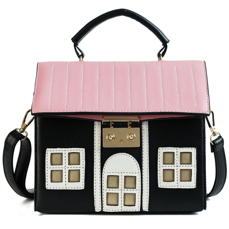 New Sweet House Shoulder Bag PU College Girl Lady Message Bag Handbags Lovely Novel Bag