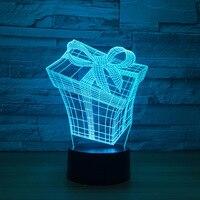 Hediye Kutusu 3d Lamba 7 Renk Çocuklar Için Led Gece Lambaları dokunmatik Led Usb Masa Lampara Lampe Bebek Uyku Nightlight Drop Shipping lamba