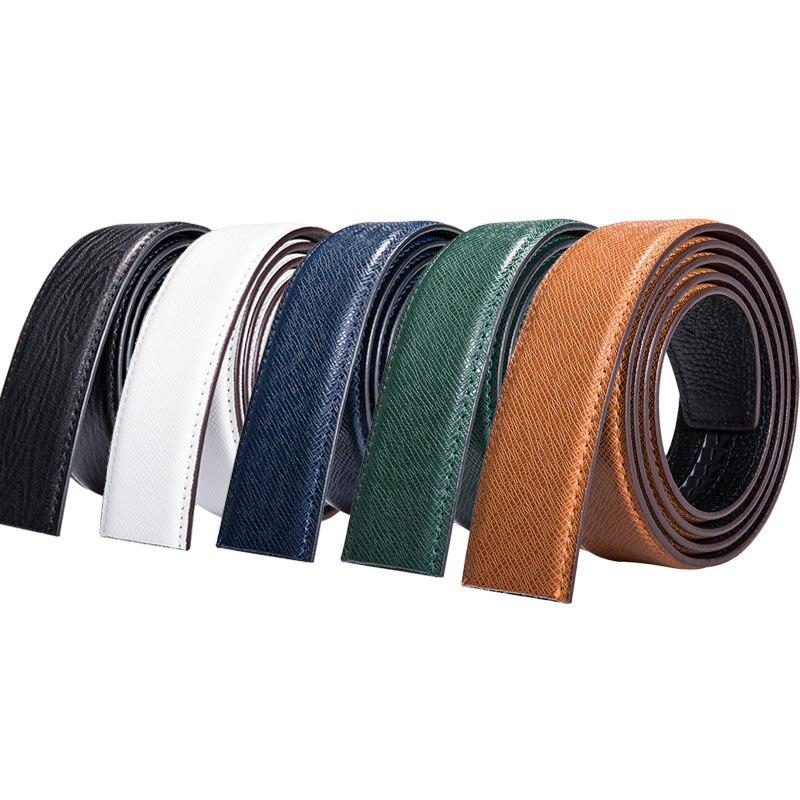 De calidad superior de cuero de vaca de cuero genuino cinturón de hebilla de la correa sin hebilla casuales de la marca de cinturón cuerpo