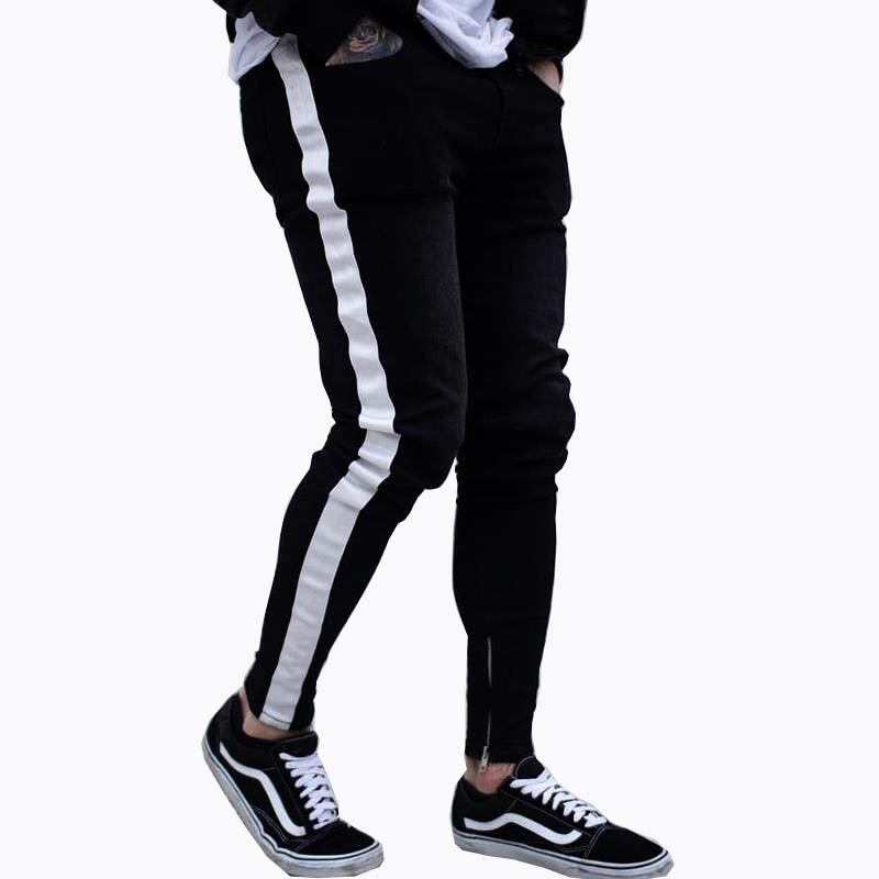 Men Skinny Fear of god Knee Hole Side Zipper Slim Distressed Ripped   Jeans   Men Ripped tore   Jeans   For Men stripe Dropshipping