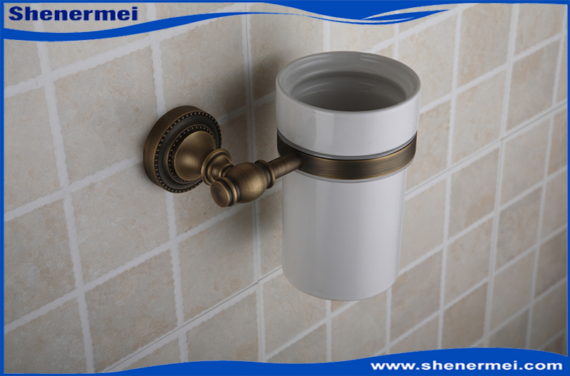Toilet Brush Head : White ceramic antique copper toilet brush holder accessories for