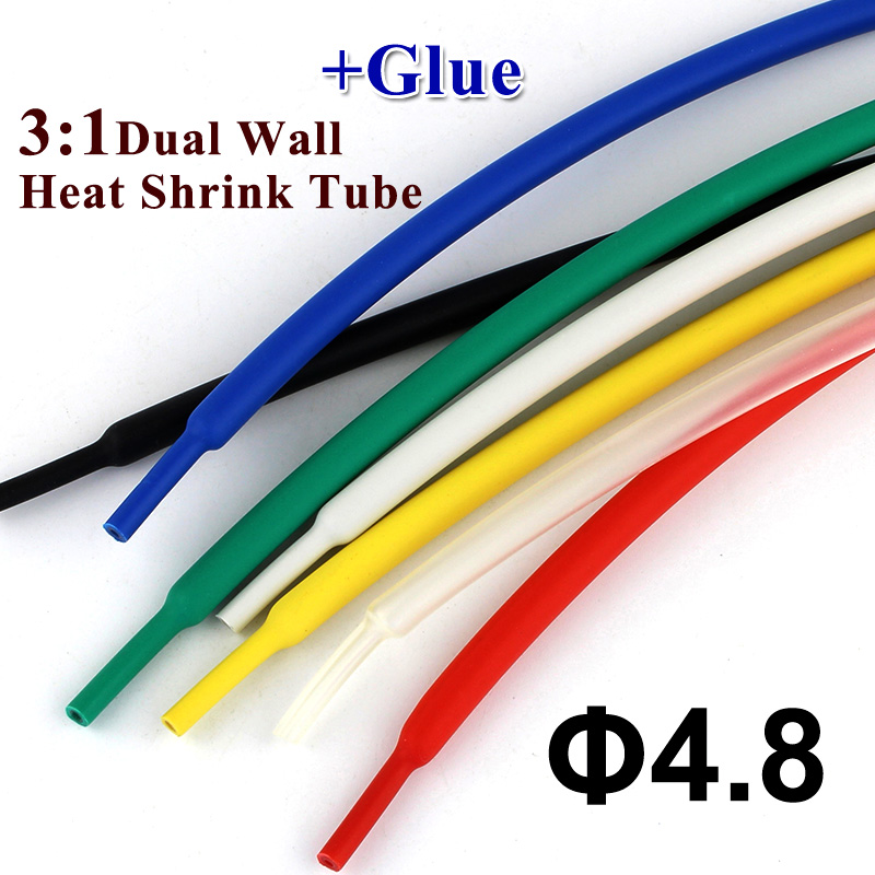 1meter/lot 4.8mm Heat Shrink Tube With Glue 3:1 Ratio Dual Wall Shrinkable Tubing Adhesive Lined Wrap Wire Cable Kit Thick Wall