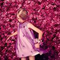 L & D 3 ~ 7 años niñas vestidos, marca mangas vestido del bebé, flor púrpura muchacha de los niños ropa 2016 ropa de moda