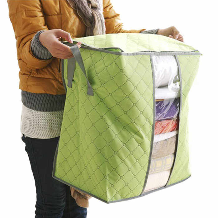 Qualify Storage Bag Box Portable Organizer Non Woven Underbed Pouch Storage Box Bamboo Clothing Storaging Bag for drop shipping
