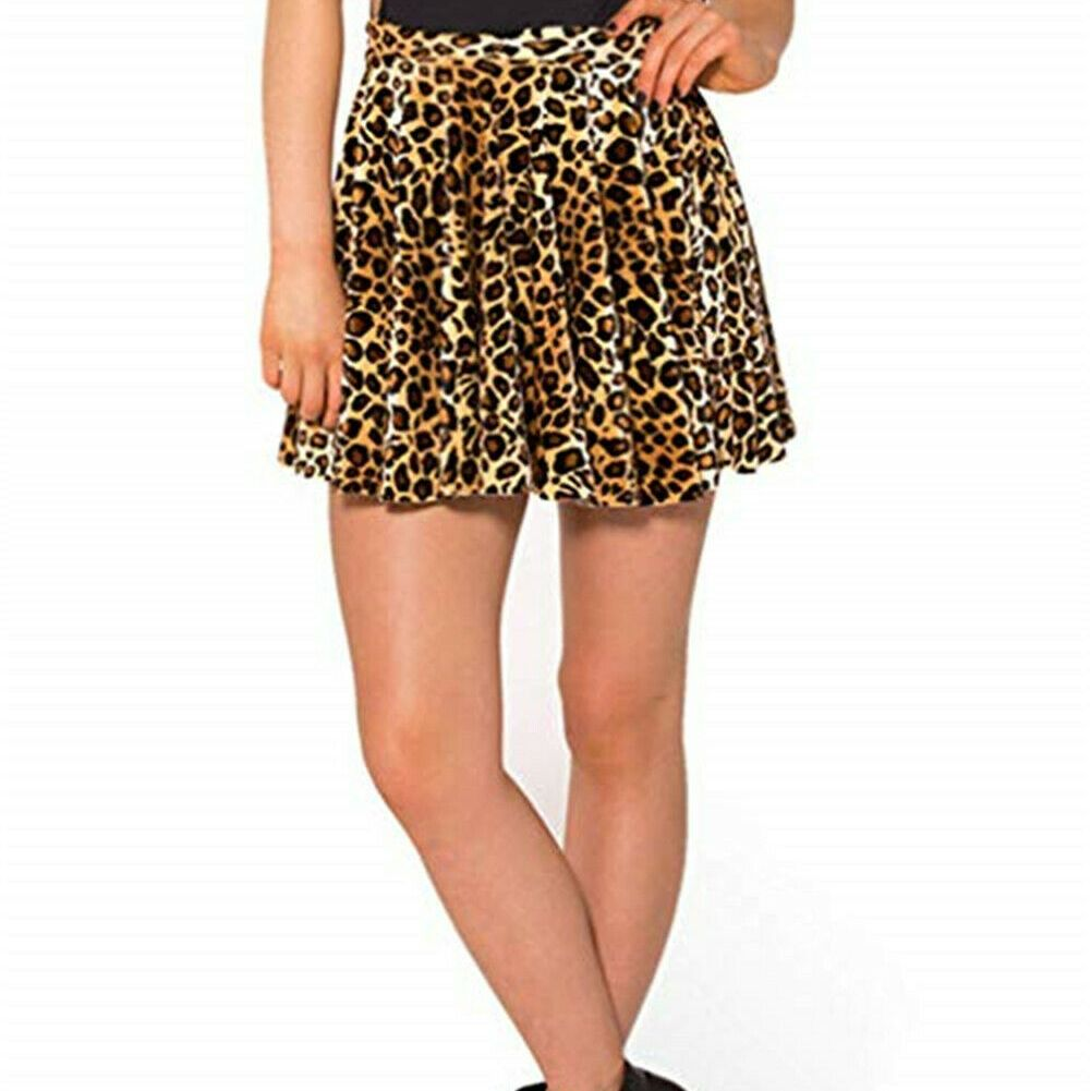 Plus Size Sexy Women Leopard Mini Skirts Stretchy Pleated Hight Waist S-4XL Short Ladies Summer Fashion Clothing