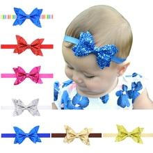 цена на 1PCS 7 Inch Big Shining Bows Headband For Girls Large Hair Bows Elastic Turban Head Wraps Baby Kids Top Knot Hairband