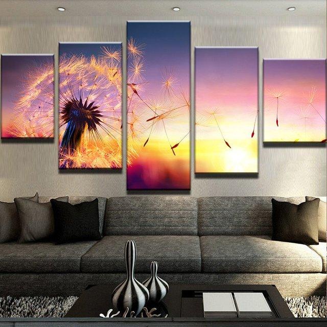 Modular Picture Canvas Wall Art Landscape Canvas Painting 5 Panel Dandelion  Under Sunset Modern Living Room